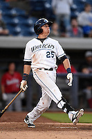 West Michigan Whitecaps designated hitter Dominic Ficociello (25) hits a home run during a game against the Great Lakes Loons on June 4, 2014 at Fifth Third Ballpark in Comstock Park, Michigan.  West Michigan defeated Great Lakes 4-1.  (Mike Janes/Four Seam Images)