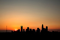 Skyline photography of the Charlotte North Carolina downtown. Image is part of a series of Charlotte skyline photographs taken over several years, from more than a dozen angles, and with different weather scenes. Images are available for licensing and as framed art.<br /> <br /> Charlotte Photographer  - PatrickSchneiderPhoto.com