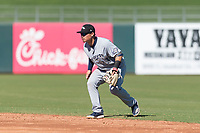 Peoria Javelinas second baseman Keston Hiura (23), of the Milwaukee Brewers organization, during an Arizona Fall League game against the Surprise Saguaros at Surprise Stadium on October 17, 2018 in Surprise, Arizona. (Zachary Lucy/Four Seam Images)