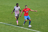 Andrew Eleftheriou of Dagenham and Redbridge and Jacob Mendy of Wealdstone during Dagenham & Redbridge vs Wealdstone, Vanarama National League Football at the Chigwell Construction Stadium on 10th October 2020