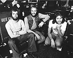 Bee Gees 1976 Robin Gibb, Maurice Gibb and Barry Gibb on Isle Of Man
