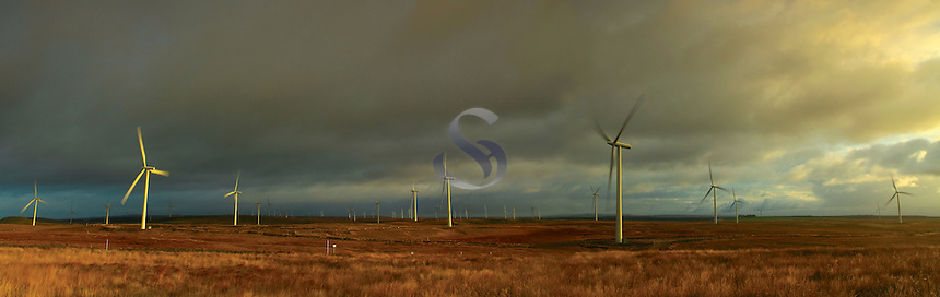 Whitelee Windfarm above Eaglesham on Eaglesham Moor, East Renfrewshire<br />