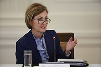 Governor Kim Reynolds, (Republican of Iowa) delivers remarks at the American Workforce Policy Advisory Board Meeting at the White House in Washington, DC on Friday, June 26, 2020. <br /> Credit: Chris Kleponis / Pool via CNP/AdMedia