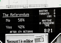 1980 FILE PHOTO - ARCHIVES -<br /> <br /> <br /> Keeping score: A running total of Quebec referendum results flashes on the score-board during a Blue Jays game at Exhibition Stadium <br /> <br /> 1980<br /> <br /> PHOTO :  Dick Darrell - Toronto Star Archives - AQP