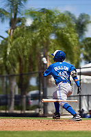 Toronto Blue Jays Luis Bullon (19) bats during an Extended Spring Training game against the Philadelphia Phillies on June 12, 2021 at the Carpenter Complex in Clearwater, Florida. (Mike Janes/Four Seam Images)