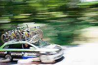 speeding Bretagne-Séché Environnement car<br /> <br /> stage 10: Tarbes - La Pierre-Saint-Martin (167km)<br /> 2015 Tour de France
