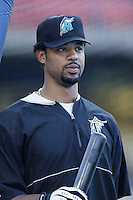Derrek Lee of the Florida Marlins before a 2002 MLB season game against the Los Angeles Dodgers at Dodger Stadium, in Los Angeles, California. (Larry Goren/Four Seam Images)