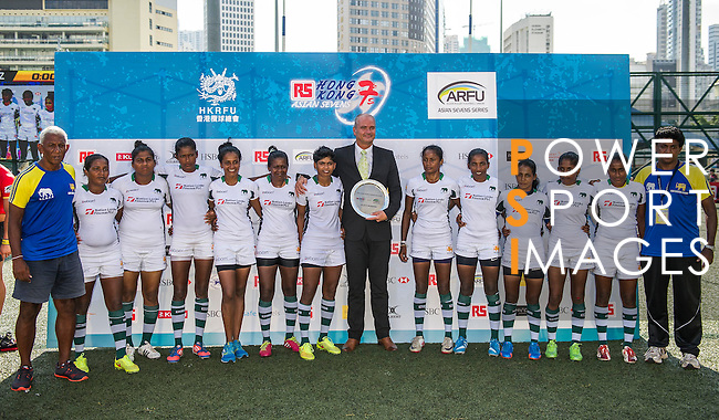 Prize presentation ceremony during the ARFU Asian Rugby 7s Round 1 on August 24, 2014 at the Hong Kong Football Club in Hong Kong, China. Photo by Xaume Olleros / Power Sport Images