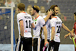 Berlin, Germany, February 09: During the FIH Indoor Hockey World Cup Pool A group match between Germany (white) and Trinidad and Tobago(red) on February 9, 2018 at Max-Schmeling-Halle in Berlin, Germany. Final score 10-2. (Photo by Dirk Markgraf / www.265-images.com) *** Local caption *** Marco MILTKAU #22 of Germany, Martin ZWICKER #20 of Germany