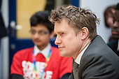 Labour Shadow Education Secretary Tristram Hunt MP on a visit to Little Ilford School in Newham, London, to discuss the school's work with Stonewall on its campaign against homophobic bullying.