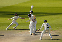 30th May 2021; Emirates Old Trafford, Manchester, Lancashire, England; County Championship Cricket, Lancashire versus Yorkshire, Day 4; Lancashire fielders put Jordan Thompsonof Yorkshire under pressure as the home side struggles to break down the Yorkshire tail to gain victory on the 4th day