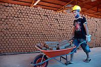 Produzido com serragem seca e prensada a partir do corte de madeira,  o briquete  é  um bastão combustível, e  pode ser utilizado em substituição ao carvão vegetal consumido pela indústria de ferro gusa  uma das maiores responsáveis utilização de carvão vindo das milhares de carvoarias no estado. A fábrica, construída pela prefeitura de Tailândia a cerca de um ano, tem capacidade de produção de 1,5 toneladas hora utilizando a imensa quantidade de serragem produzida por madeireiros, sub produto que normalmente seria  um problema ambiental. Até hoje nenhum contrato foi assinado com a fábrica.<br /> Tailândia, Parã, Brasil.<br /> 21/02/2008<br /> Foto Paulo Santos
