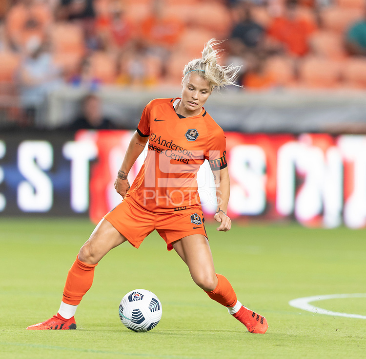 HOUSTON, TX - SEPTEMBER 10: Rachel Daly #3 of the Houston Dash gains control of a loose ball during a game between Chicago Red Stars and Houston Dash at BBVA Stadium on September 10, 2021 in Houston, Texas.