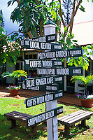 sign post leading to Lanai City shops