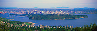 Vancouver, BC, British Columbia, Canada - Aerial View of City, Stanley Park, English Bay, Lions Gate Bridge, and Burrard Inlet - West Vancouver in foreground, Panoramic View