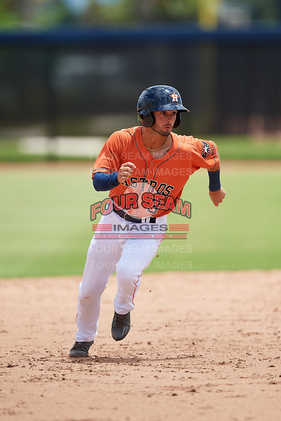 GCL Astros first baseman Ronaldo Urdaneta (3) runs the bases during a game against the GCL Nationals on August 6, 2018 at FITTEAM Ballpark of the Palm Beaches in West Palm Beach, Florida.  GCL Astros defeated GCL Nationals 3-0.  (Mike Janes/Four Seam Images)