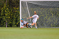 Texas goalkeeper Abby Smith (1) makes a save on Texas State forward Tori Hale (16) score attempt during an NCAA soccer game, Sunday, September 21, 2014 in San Marcos, Tex. Texas defeated Texas State 2-0. (Mo Khursheed/TFV Media via AP Images)