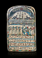 Ancient Egyptian stele dedicated by high priest Padiamenemipet to Ra-Harakhty, limestone, Late Period, 26th Dynasty, (580-520 BC), Deir el-Medina, Cat 1574. Egyptian Museum, Turin. black background,<br /> <br /> the round topped stele is dedicated by high priest Padiamenemipet to Ra-Harakht, Isis and the 4 sons of Horus. It was gifted by the Cairo Museum.