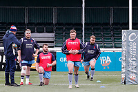 The London Scottish squad warm up during the Greene King IPA Championship match between Ealing Trailfinders and London Scottish Football Club at Castle Bar , West Ealing , England  on 19 January 2019. Photo by Carlton Myrie/PRiME Media Images