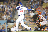 05/09/12 Los Angeles, CA: Los Angeles Dodgers outfielder Scott Van Slyke #33 during an MLB game played between the San Francisco Giants and Los Angeles Dodgers at Dodger Stadium