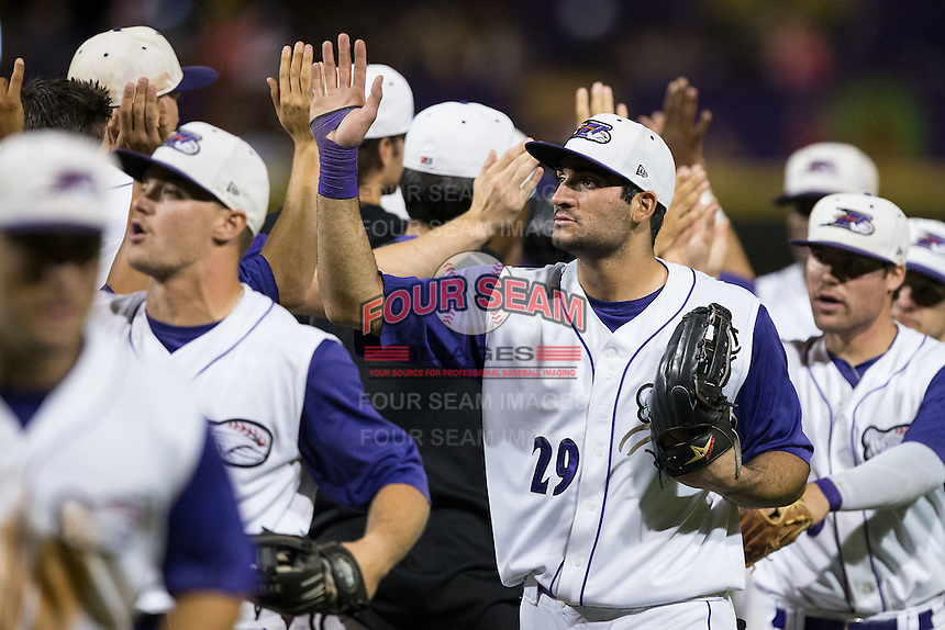 Nick Basto (29) of the Winston-Salem Dash high fives teammates after their win over the Myrtle Beach Pelicans at BB&T Ballpark on September 9, 2015 in Winston-Salem, North Carolina.  The Dash defeated the Pelicans 4-2 to take a 1-0 lead in the best of 3 series. (Brian Westerholt/Four Seam Images)