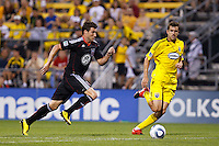 26 JUNE 2010:  Chris Pontius #13 of DC United  and Eric Brunner of the Columbus Crew (23) during MLS soccer game between DC United vs Columbus Crew at Crew Stadium in Columbus, Ohio on May 29, 2010. The Crew defeated DC United 2-0.