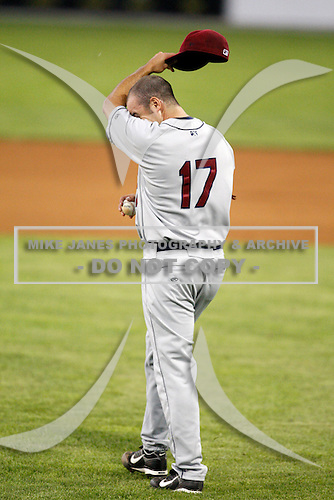 July 27, 2009:  Pitcher Jeremy Johnson of the Mahoning Valley Scrappers reacts after giving up a two run base hit during a game at Dwyer Stadium in Batavia, NY.  Mahoning Valley is the NY-Penn League Short-Season Class-A affiliate of the Cleveland Indians.  Photo By Mike Janes/Four Seam Images