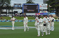 The players walk off at the end of day four of the international cricket 2nd test match between NZ Black Caps and England at Seddon Park in Hamilton, New Zealand on Friday, 22 November 2019. Photo: Dave Lintott / lintottphoto.co.nz