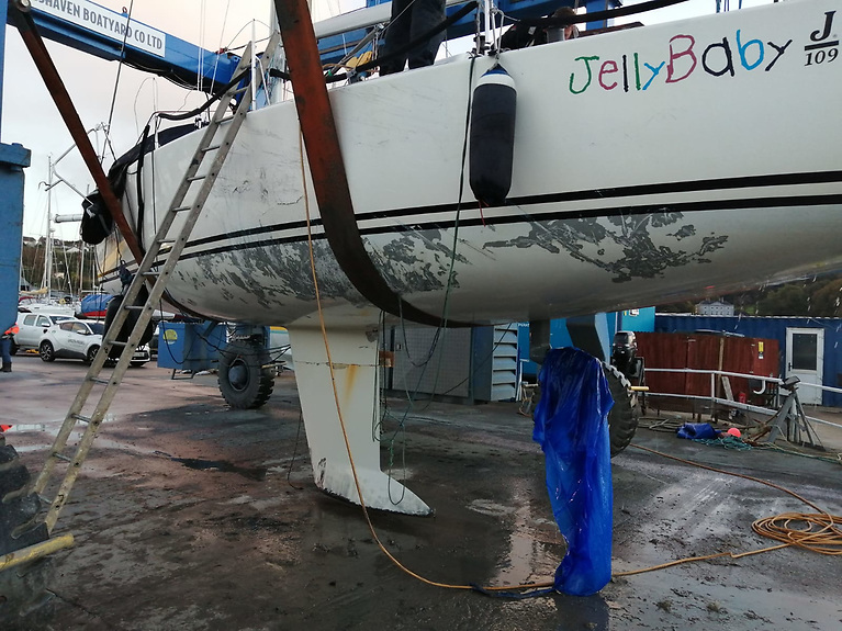 Jelly Baby is hauled out at Crosshaven Boatyard with hull damage clearly visible following her afternoon on the rocks