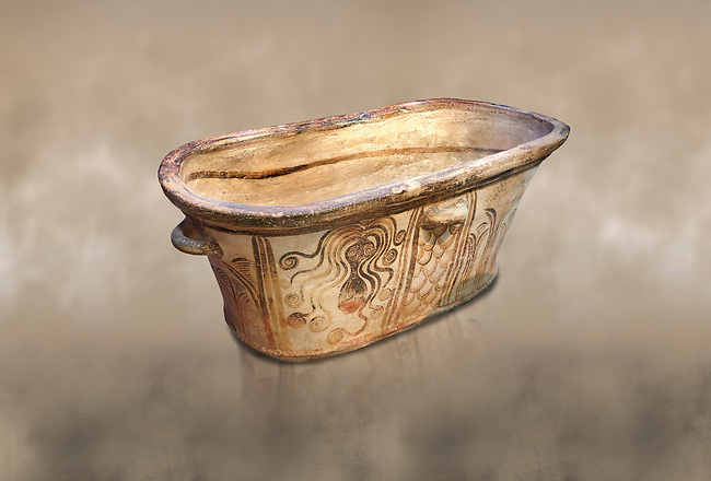 Minoan  pottery bath tub  larnax decorated with stylised octopuses,  Episkopi-Lerapetra 1350-1250 BC, Heraklion Archaeological  Museum.<br /> <br /> To the Greeks, the Underworld was entered by water. As with many other Minoan bathtubs, this one was probably later used as a coffin to convey the deceased across the sea, where marine imagery would be equally appropriate. The two functions of bathtubs, bathing and burial, combine in the story of Agamemnon who, on return from Troy, was murdered by his wife and her lover in a silver bath.