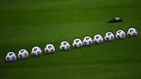 A row of balls is seen on the pitch during the Serie A football match between AC Milan and SSC Napoli at San Siro Stadium in Milano  (Italy), March 14th, 2021. Photo Andrea Staccioli / Insidefoto