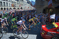 Chris Froome (GBR/SKY) leads the neutralised peloton through the city of Bern towards the real start<br /> <br /> stage 17: Bern (SUI) - Finhaut-Emosson (SUI) 184.5km<br /> 103rd Tour de France 2016