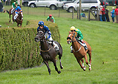 Mr Universo (blue) and Darren Nagle gave Decoy Daddy and Ross Geraghty all they could handle in the Middletown Cup training flat race.