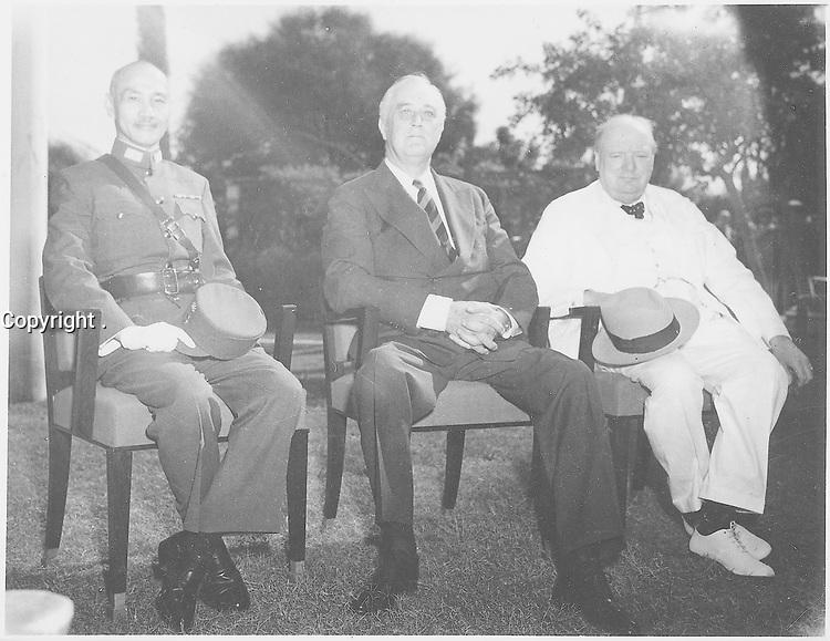 Franklin D. Roosevelt, Chiang,Kai Shek, and Churchill in Cairo, Egyp NOV 22 to 26, 1943