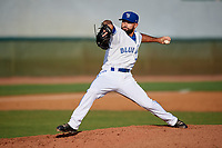 Bluefield Blue Jays relief pitcher Joe DiBenedetto (27) delivers a pitch during the first game of a doubleheader against the Bristol Pirates on July 25, 2018 at Bowen Field in Bluefield, Virginia.  Bluefield defeated Bristol 6-3.  (Mike Janes/Four Seam Images)