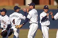 19 Feb. 2005: University of Virginia third baseman Ryan Zimmerman congratulates teammates after a 2-0 win over the Bucknell Bison. Zimmerman was named a 2005 Second Team Preseason All-American by Baseball America, Preseason Second Team All-American by the National Collegiate Baseball Writers Association (NCBWA) and Preseason Third Team All-American by Collegiate Baseball. (Tom Priddy/Four Seam Images)