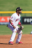 Mesa Solar Sox third baseman Roberto Baldoquin (24), of the Los Angeles Angels organization, during an Arizona Fall League game against the Salt River Rafters at Sloan Park on October 30, 2018 in Mesa, Arizona. Salt River defeated Mesa 14-4 . (Zachary Lucy/Four Seam Images)