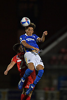 Haydon Roberts of Brighton & Hove Albion (U23s) battles with Ruel Sotiriou of Leyton Orient during the EFL Trophy behind closed doors match between Leyton Orient and Brighton & Hove Albion Under 21s at the Matchroom Stadium, London, England played without supporters able to attend due to ongoing covid-19 government guidelines on 8 September 2020. Photo by Vince  Mignott.
