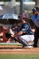 Logan Tanner during the WWBA World Championship at the Roger Dean Complex on October 20, 2018 in Jupiter, Florida.  Logan Tanner is a catcher from Lucedale, Mississippi who attends George County High School and is committed to Mississippi State.  (Mike Janes/Four Seam Images)