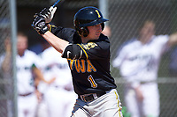 Iowa Hawkeyes third baseman Mason McCoy (1) at bat during a game against the Dartmouth Big Green on February 27, 2016 at South Charlotte Regional Park in Punta Gorda, Florida.  Iowa defeated Dartmouth 4-1.  (Mike Janes/Four Seam Images)