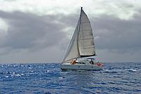 Catamaran at sail off Coin de Mire, Mauritius