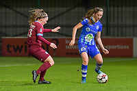 Fleur Pauwels (63) of KRC Genk and Fran Meersman (5) of AA Gent pictured during a female soccer game between  AA Gent Ladies and Racing Genk on the 12 th matchday of the 2020 - 2021 season of Belgian Scooore Womens Super League , friday 29 th of January 2021  in Oostakker , Belgium . PHOTO SPORTPIX.BE | SPP | DIRK VUYLSTEKE