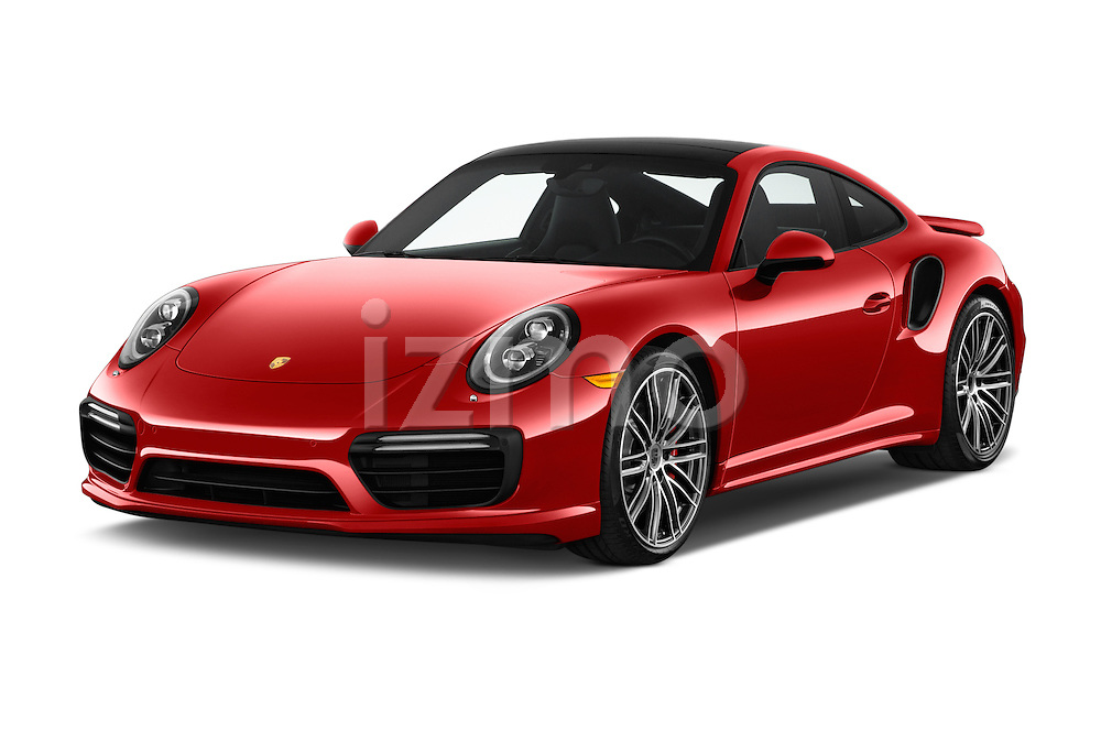 2018 Porsche 911 Turbo 2 Door Coupe Angular Front stock photos of front three quarter view