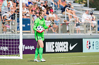CARY, NC - SEPTEMBER 12: Bella Bixby #31 of the Portland Thorns reassures her teammates after collecting the ball during a game between Portland Thorns FC and North Carolina Courage at Sahlen's Stadium at WakeMed Soccer Park on September 12, 2021 in Cary, North Carolina.