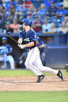 Asheville Tourists third baseman Todd Czinege (10) swings at a pitch during game two of a double header against the Columbia Fireflies at McCormick Field on August 4, 2018 in Asheville, North Carolina. The Tourists defeated the Fireflies 8-0. (Tony Farlow/Four Seam Images)
