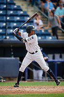 Staten Island Yankees right fielder Junior Soto (48) at bat during a game against the Lowell Spinners on August 22, 2018 at Richmond County Bank Ballpark in Staten Island, New York.  Staten Island defeated Lowell 10-4.  (Mike Janes/Four Seam Images)