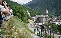 peloton coming up the last climb of the day: the Col de Baune<br /> <br /> Stage 6: Saint-Vulbas to Saint-Michel-de-Maurienne (228km)<br /> 71st Critérium du Dauphiné 2019 (2.UWT)<br /> <br /> ©kramon