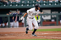 Left fielder Darryl Collins (23) of the Columbia Fireflies in a game against the Charleston RiverDogs on Tuesday, May 11, 2021, at Segra Park in Columbia, South Carolina. (Tom Priddy/Four Seam Images)