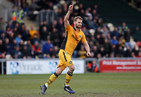 Mickey Demetriou of Newport County celebrates scoring his sides first goal of the match during the Sky Bet League Two match between Newport County and Yeovil Town at Rodney Parade, Newport, Wales, UK. 14 April 2017