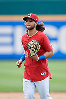 Buffalo Bisons Bo Bichette (13) after an International League game against the Indianapolis Indians on June 20, 2019 at Sahlen Field in Buffalo, New York.  Buffalo defeated Indianapolis 11-8  (Mike Janes/Four Seam Images)